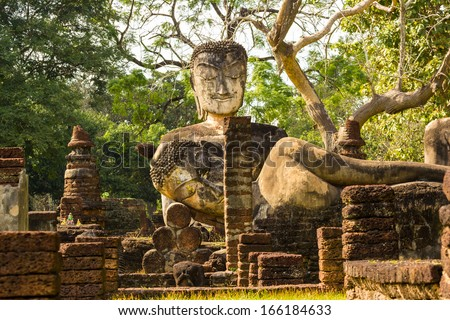 old condition of ancient buddha statue in Thailand temple