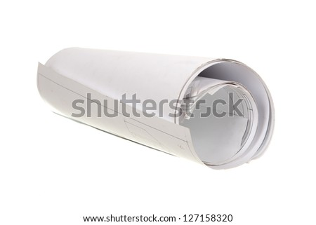 Old construction drawing roll isolated on white - stock photo