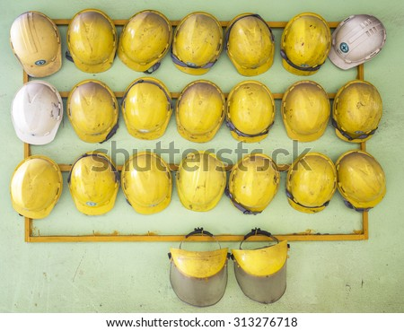 Old construction helmets - stock photo