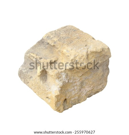 old construction stone isolated over white background