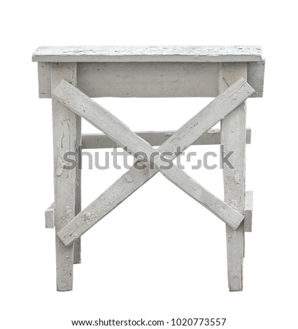 Old construction wooden ladder on isolated white background
