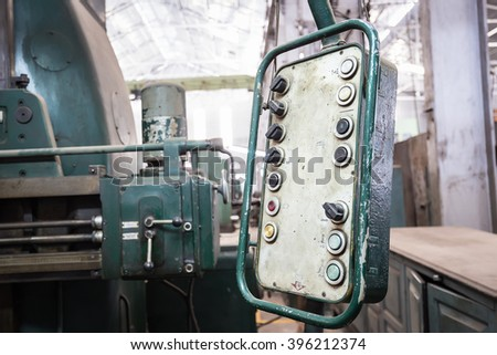 Old control panel and controlling handle