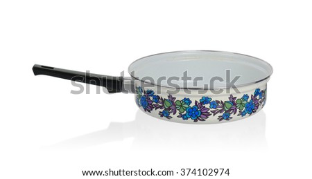 Old cooking pot on a white background - stock photo