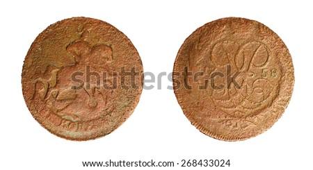 Old copper coin of the Russian Empire, 2 copecks 1758. Elizabeth (1741-1761) - stock photo