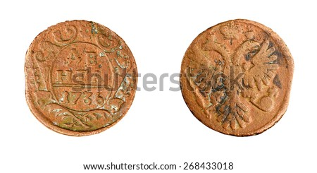 Old copper coin of the Russian Empire, denga 1736. Anna Ioanovna (1730-1740) - stock photo