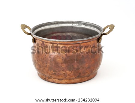 old copper pot. - stock photo