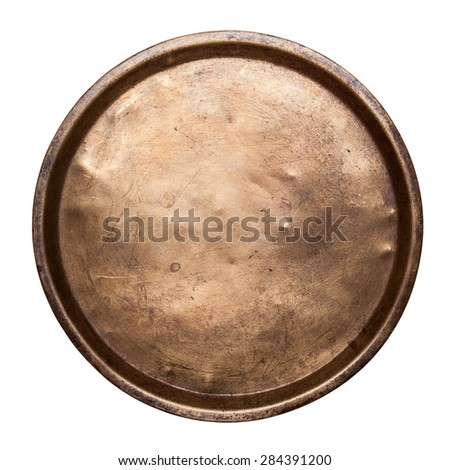 Old copper tray on a white background - stock photo
