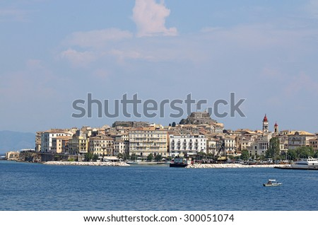 Old Corfu town seaside Greece - stock photo