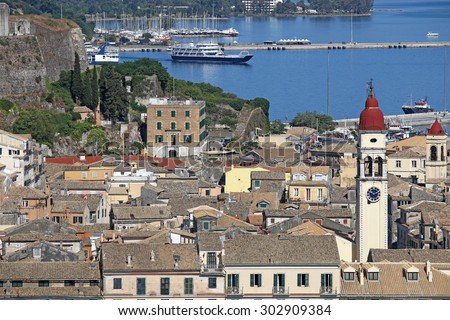 old Corfu town with port cityscape - stock photo