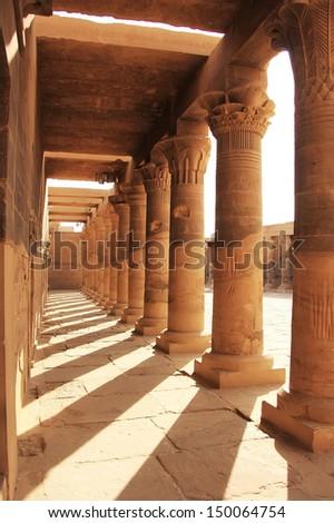 Old corridor, Philae Temple, Lake Nasser, Egypt - stock photo