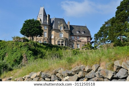 Old cottage in France. Traditional house in Brittany. - stock photo