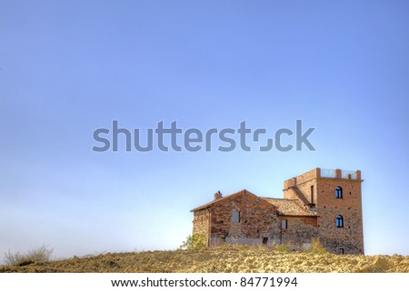 Old country house in the hills, Oltrepo Pavese, Italy. - stock photo