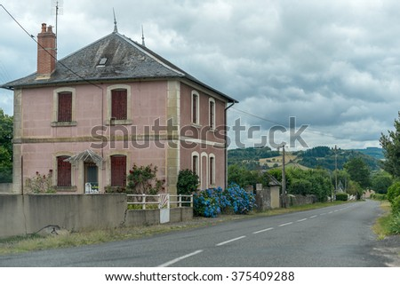 Old country house under the cloudy sky, Burgundy, France