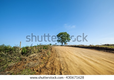 Old country road on hill