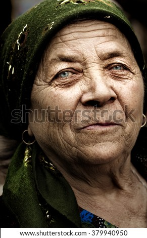 Old country romanian friendly woman