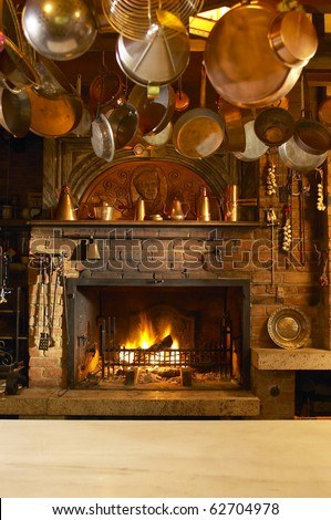 Old country style kitchen with fireplace