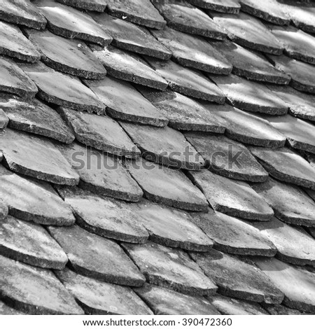 Old cover for the roof, black and white - stock photo