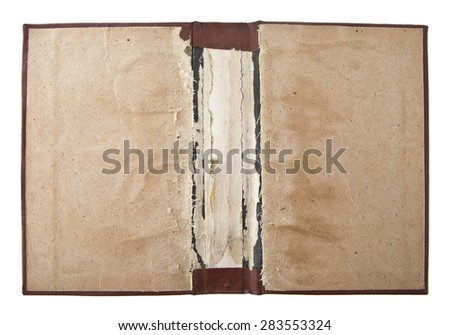 old cover from the book on a white background - stock photo