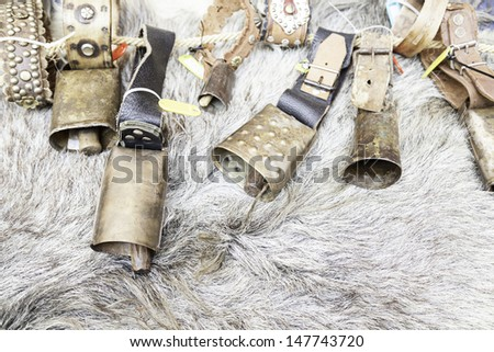 Old cow bells, detail tool for animals, sound and distinction, rural - stock photo