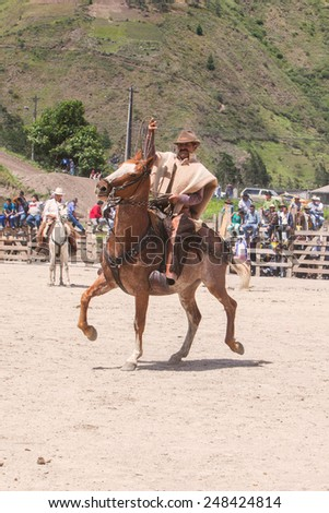 Old Cowboy Trainer Riding A Horse, South America Competition  - stock photo