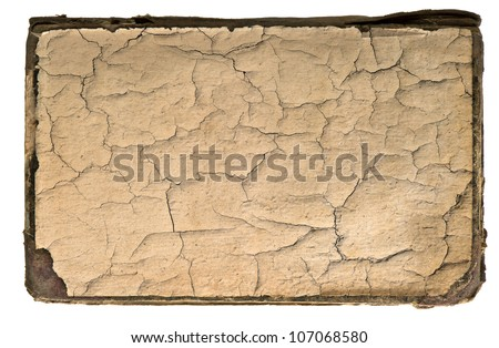 old cracked book page. grunge textured background - stock photo