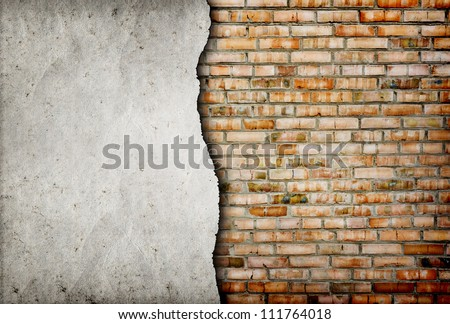 old cracked brick wall background - stock photo