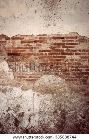 old cracked brick wall texture background. Vintage effect. - stock photo
