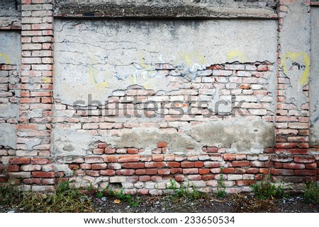 Old cracked brick wall with green grass   - stock photo