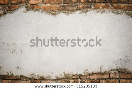 old cracked concrete vintage brick wall background