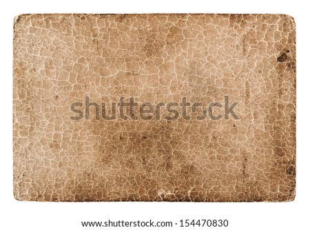 old cracked grungy cardboard isolated on white. antique paper background - stock photo