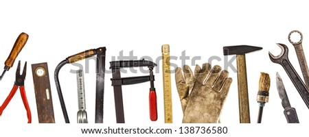 Old craftsman tools isolated on white background - stock photo