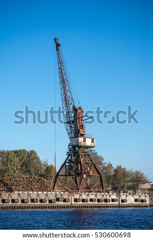 old crane at the Harbour of Riga, Latvia