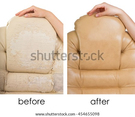 Old Crannied and New Office Boss Chair (armchair). Restoration of Old Furniture, before and after collage. Replacing Material, update. Dermatin chair requiring tissue replacement, instauration. - stock photo