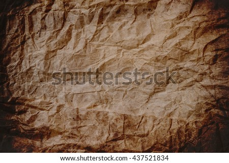 Old crumpled brown paper texture, paper texture background, crumpled texture
