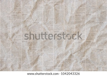 Old Crumpled Grunge Newspaper Paper Texture Background Blurred Vintage Textured
