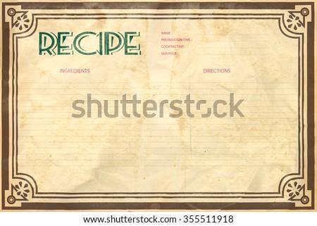 Old crumpled grunge retro recipe card layout - stock photo