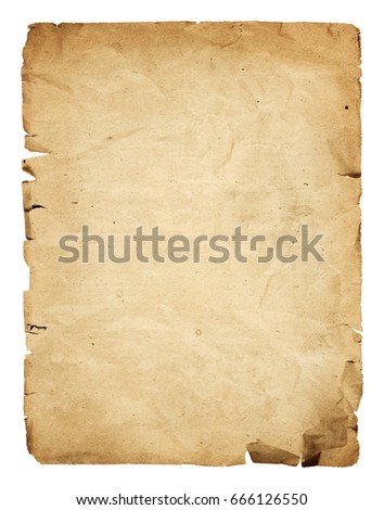 Old crumpled paper sheet isolated on white background
