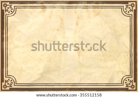 Old crumpled retro paper sheet with ornamental frame - stock photo