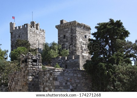 Old crusader castle in the town of Bodrum Turkey - stock photo