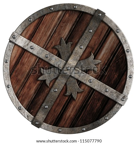 Old crusader wooden shield with metal border isolated on white - stock photo