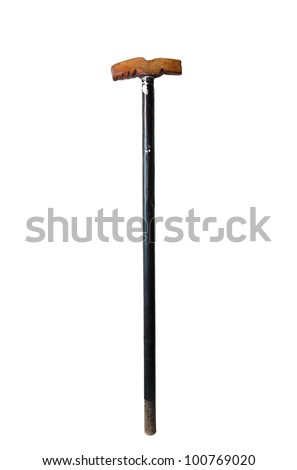 old crutch on a white background - stock photo