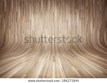 Old curved wooden background, wooden parquet, curved wooden interior - stock photo