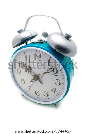 Old cyan alarm clock on a white background