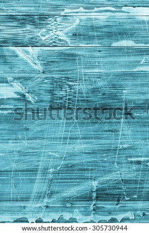 Old Cyan Stained Varnished Wooden Laminated Panel, Weathered, Cracked, Scratched Grunge Texture. - stock photo