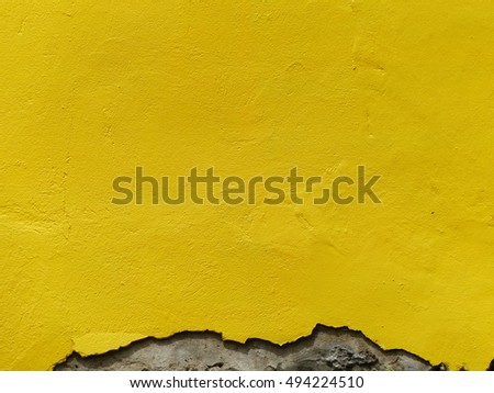 old damage yellow paint wall