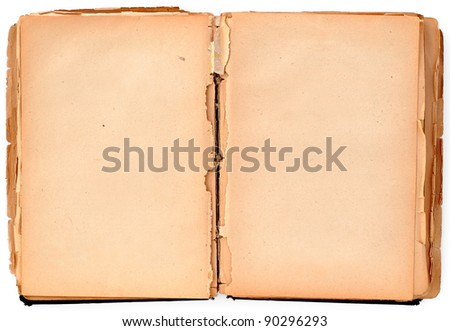 Old damaged book on white, paper texture - stock photo
