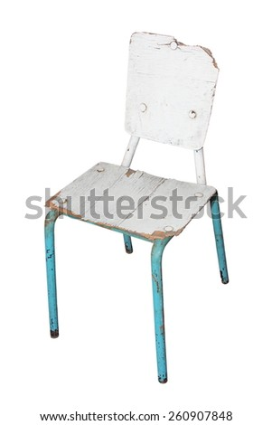 old  damaged chair isolated over white background - stock photo