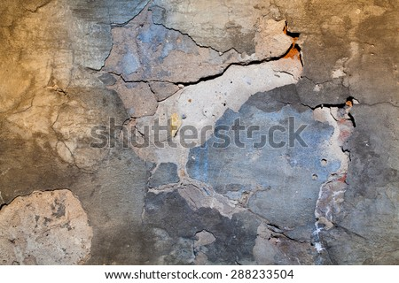Old Damaged Painted Wall Texture - stock photo