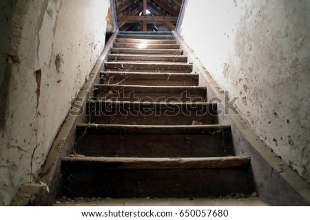 Beautiful Old Damaged Wooden Stairs To The Garret. Entrance To The Attic.
