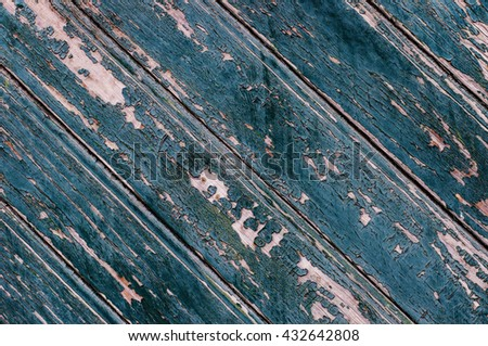 Old dark blue boards of wood. Natural wood background
